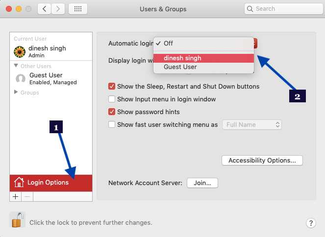 Enable Mac Automatic Log in